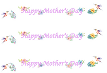 Load image into Gallery viewer, Happy Mother's Day Hummingbirds Edible Icing Cake Ribbon / Side Strips
