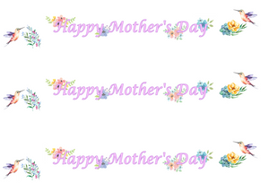Happy Mother's Day Hummingbirds Edible Icing Cake Ribbon / Side Strips