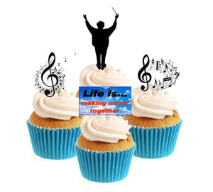 Music Conductor Collection Stand Up Cake Toppers (12 pack)