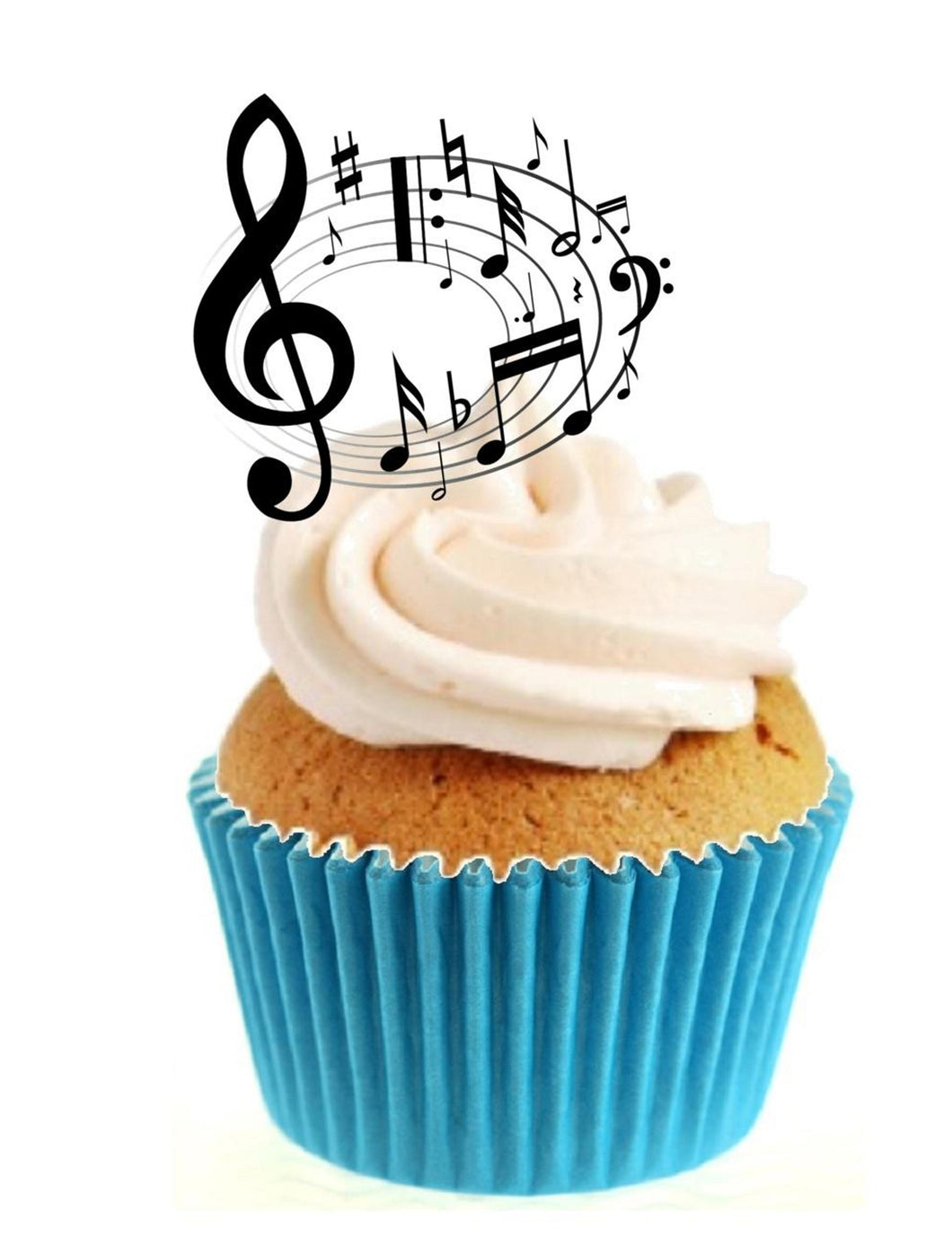 Music Notes Circle Stand Up Cake Toppers (12 pack)