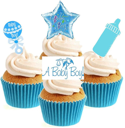New Baby Boy Collection Stand Up Cake Toppers (12 pack)