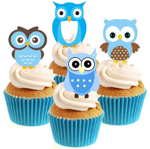 Blue Owls Stand Up Cake Toppers (12 pack)  Pack contains 12 images - 3 of each image - printed onto premium wafer card