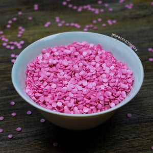 4mm Pink Glimmer Confetti Cupcake / Cake Decoration Sprinkles (100g)  Edible confetti with a lovely shiny finish  Perfect to top any cupcake, large cake, ice cream, cookies, shakes and more...