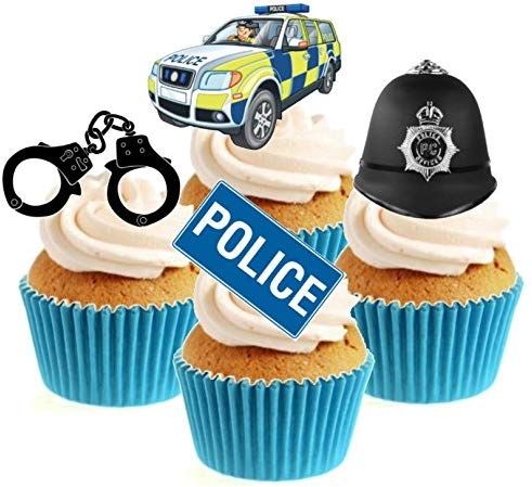 Police Collection Stand Up Cake Toppers (12 pack)