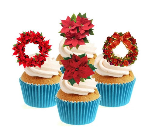 Poinsettia Collection Stand Up Cake Toppers (12 pack)
