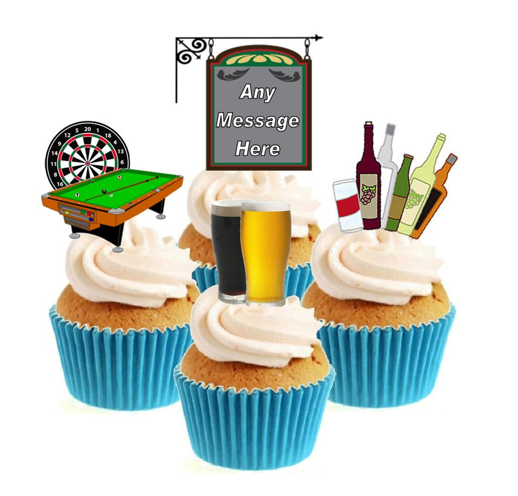Personalised Pub Collection Stand Up Cake Toppers (12 pack)