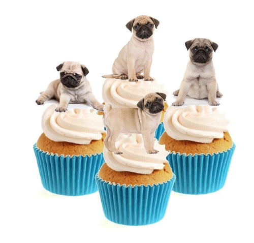 Pug Puppy Collection Stand Up Cake Toppers (12 pack)