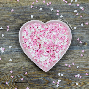 Pink & White Glimmer Hearts (100g)