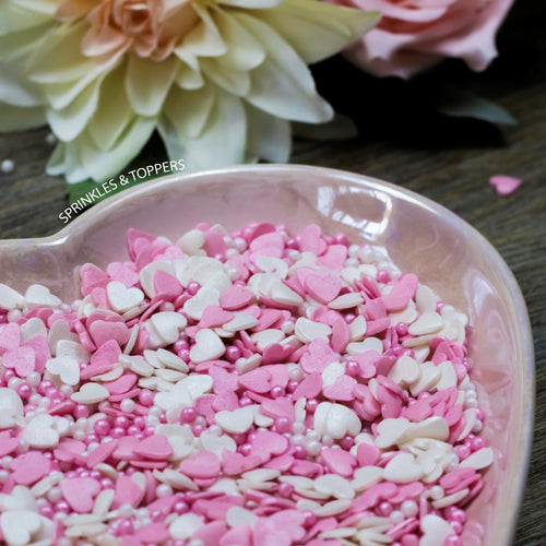 Pink & White Glimmer Hearts & Pearls (100g)