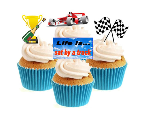 Racing Car Collection Stand Up Cake Toppers (12 pack)