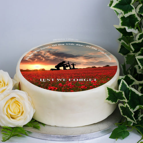 "Remembrance Day Scene 8"" Icing Sheet Cake Topper"