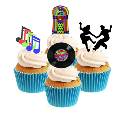 Rock & Roll Collection Stand Up Cake Toppers (12 pack)