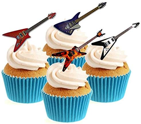 Rock Guitar Collection Stand Up Cake Toppers (12 pack)