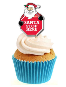Santa Stop Here Stand Up Cake Toppers (12 pack)