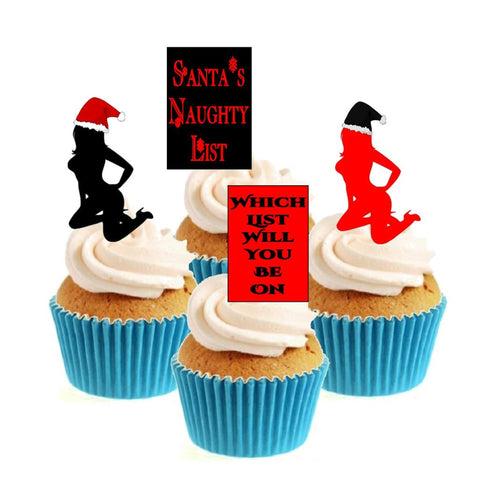 Santa's Naughty List Collection Stand Up Cake Toppers (12 pack)