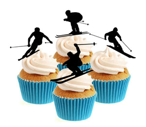 Skiing Silhouette Collection Stand Up Cake Toppers (12 pack)