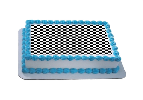 Small Black & White Check A4 Themed Icing Sheet