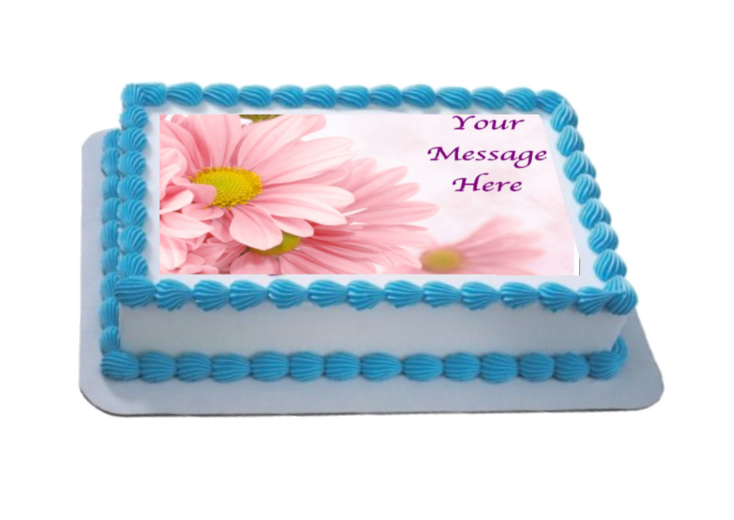 Personalised Soft Pink Floral A4 Icing Sheet Topper