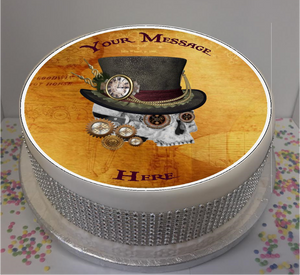 "Personalised Steampunk Skull 8"" Icing Sheet Cake Topper"