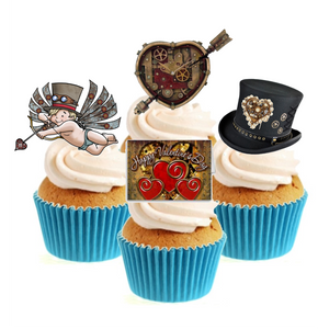 Steampunk Valentines Collection Stand Up Cake Toppers (12 pack)