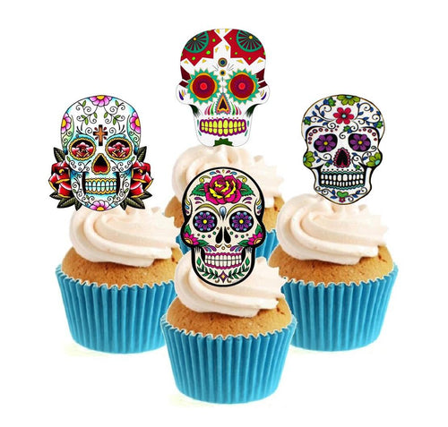 Sugar Skull (B) Collection Stand Up Cake Toppers (12 pack)