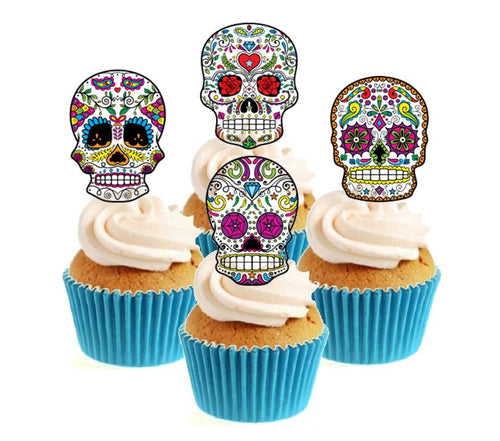 Sugar Skull (C) Collection Stand Up Cake Toppers (12 pack)