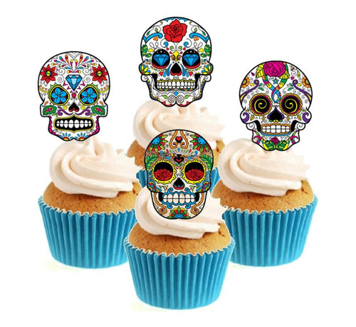Sugar Skull (A) Collection Stand Up Cake Toppers (12 pack)