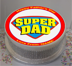 "Personalised Super Dad 8"" Icing Sheet Cake Topper"