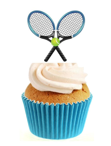 Tennis Rackets & Ball Stand Up Cake Toppers (12 pack)