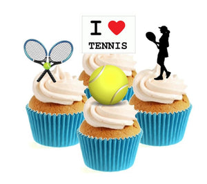 Tennis Female Collection Stand Up Cake Toppers (12 pack)