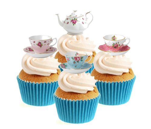 Vintage Time For Tea Collection Stand Up Cake Toppers (12 pack)