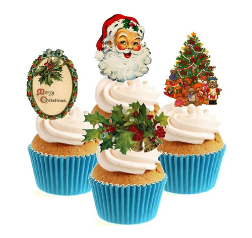 Traditional Christmas Collection Stand Up Cake Toppers (12 pack)