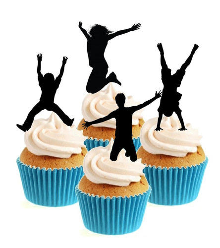 Trampolining Silhouette Collection Stand Up Cake Toppers (12 pack)