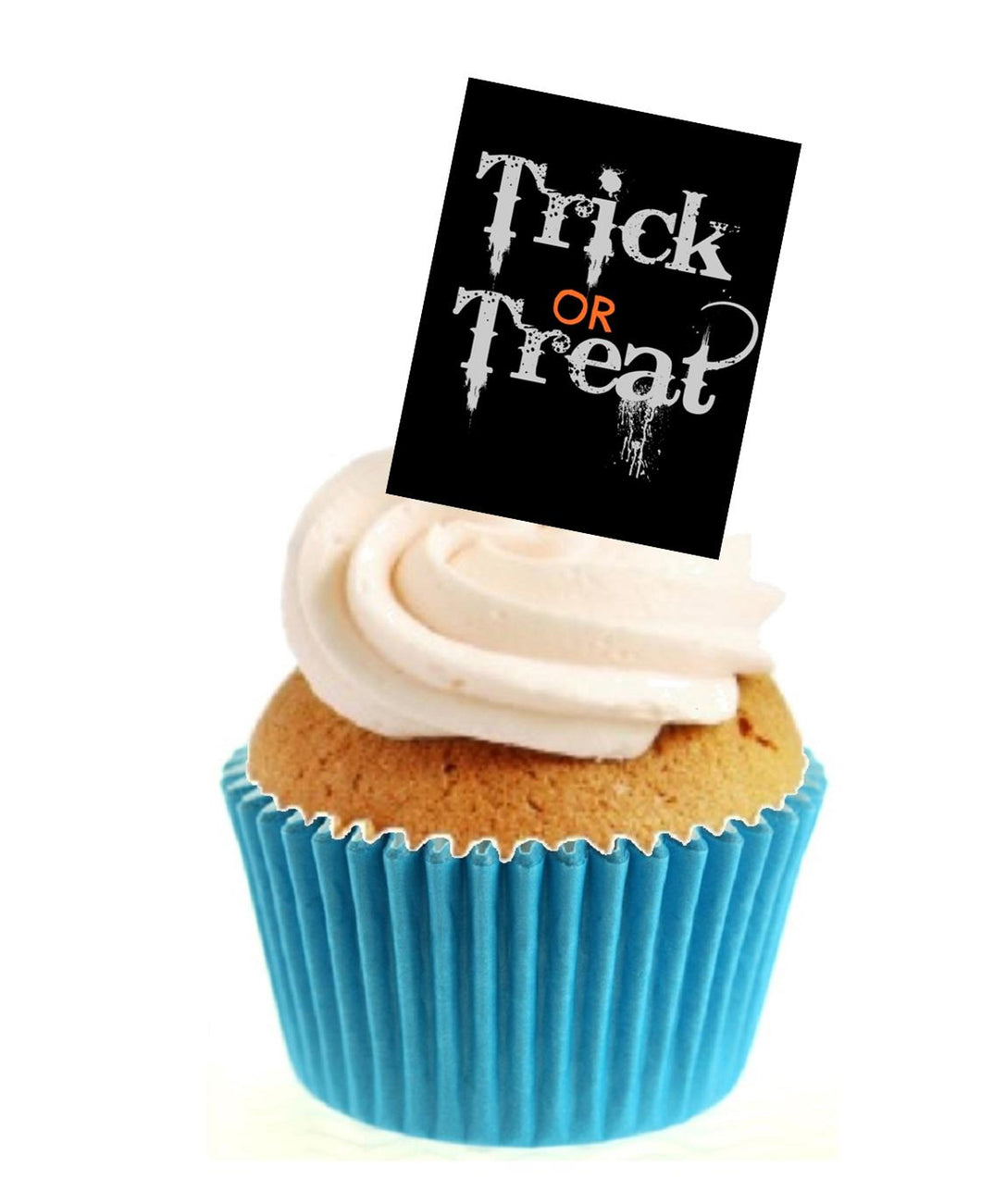 Trick or Treat Black Stand Up Cake Toppers (12 pack)