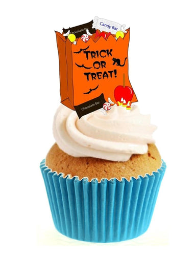 Trick or Treat Candy Bag Stand Up Cake Toppers (12 pack)