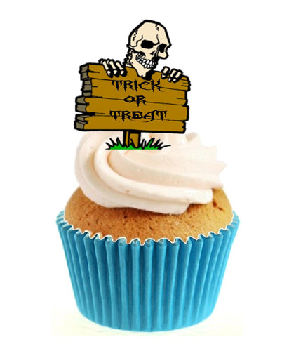 Trick or Treat Skull Sign Stand Up Cake Toppers (12 pack)
