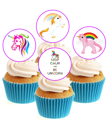 Unicorn Collection Stand Up Cake Toppers (12 pack)