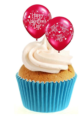 Valentines Balloons Stand Up Cake Toppers (12 pack)