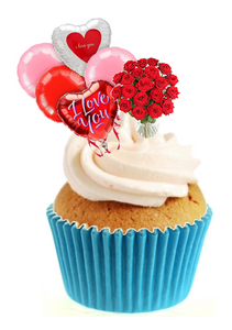 Valentines Balloons & Flowers Stand Up Cake Toppers (12 pack)