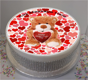 "Personalised Valentines Bear 8"" Icing Sheet Cake Topper"