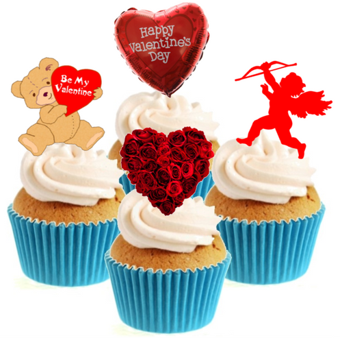 Valentines Collection Stand Up Cake Toppers (12 pack)