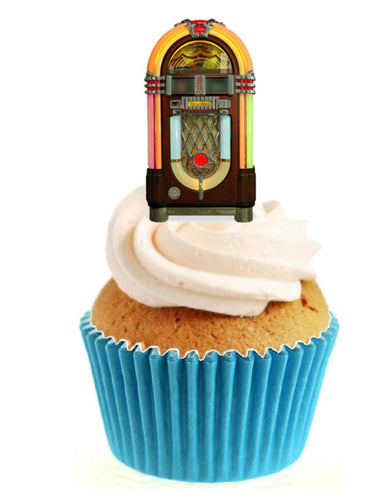Vintage Jukebox Stand Up Cake Toppers (12 pack)