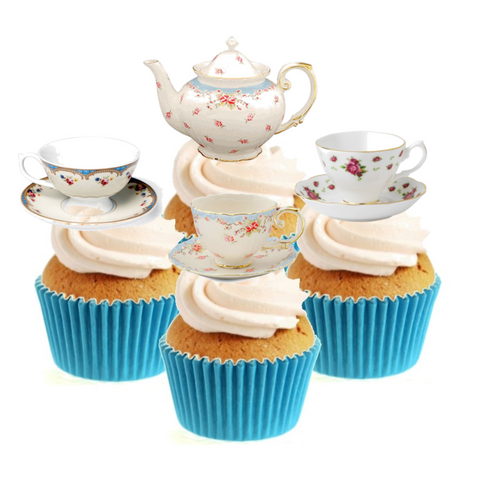 Vintage Time For Tea (A) Collection Stand Up Cake Toppers (12 pack)