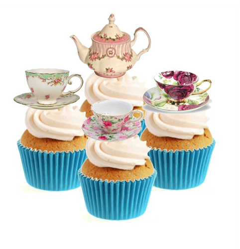 Vintage Time For Tea (B) Collection Stand Up Cake Toppers (12 pack)