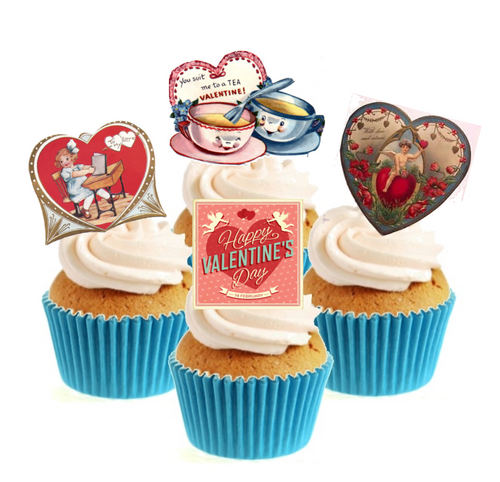 Vintage Valentines Collection Stand Up Cake Toppers (12 pack)