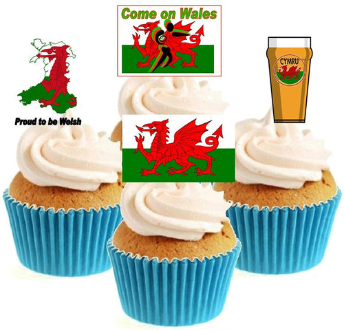 Welsh Rugby Collection Stand Up Cake Toppers (12 pack)