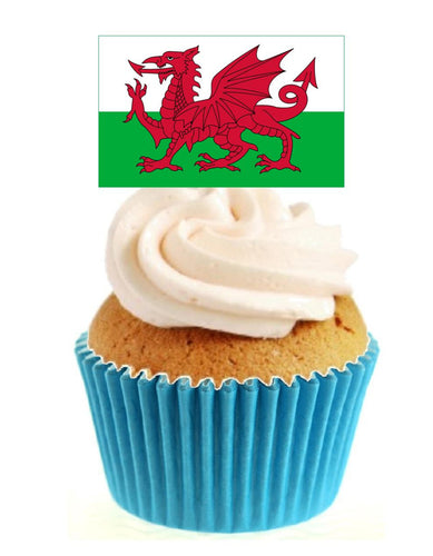 Welsh Flag Stand Up Cake Toppers (12 pack)