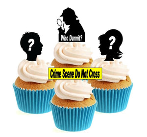 Who dunnit / murder mystery Collection Stand Up Cake Toppers (12 pack)