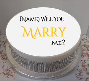 "Personalised Will You Marry Me? 8"" Icing Sheet Cake Topper"