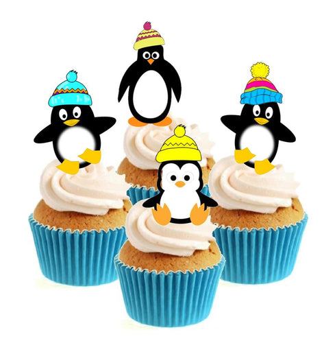 Winter Penguin Collection Stand Up Cake Toppers (12 pack)